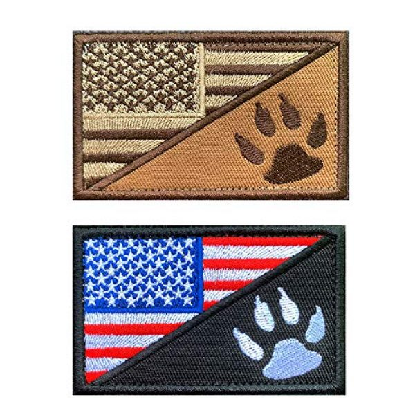 Antrix Airsoft Morale Patch 1 2 Pack Tactical American Flag with Dog Tracker, USA Flag/Dog Paw Patch, Milltary Embroidered Applique Emblem Badge Hook & Loop Patch for Service Dogs