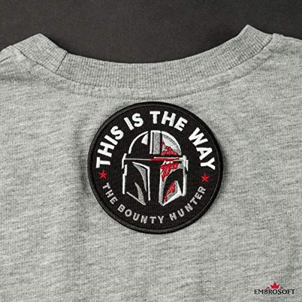 Embrosoft Airsoft Morale Patch 6 Bounty Hunter Round Patch - This is The Way Mandalorian - Star Wars TV Series Morale Emblem - Embroidered Iron On - Size: 3.5 x 3.5 inches