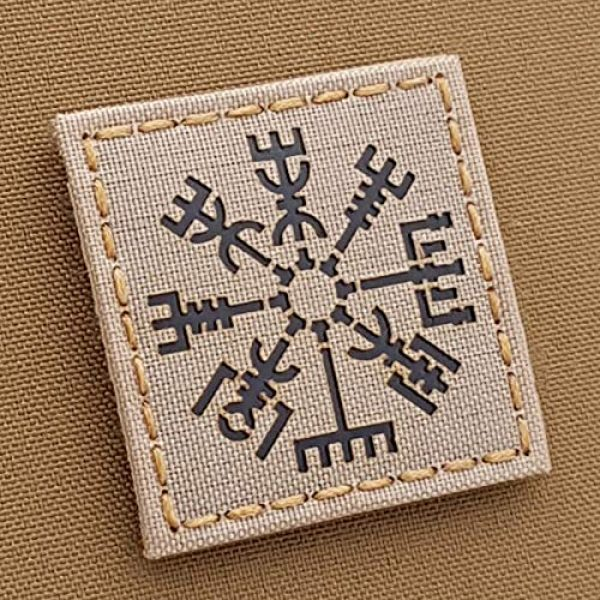 Tactical Freaky Airsoft Morale Patch 1 IR Vegvisir Desert Sand Viking Norse 2x2 Tan Arid IFF Tactical Morale Hook-and-Loop Patch