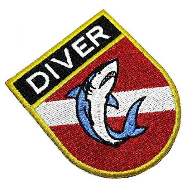 BR44 Airsoft Morale Patch 1 BD0176ET 01 Scuba Shark Diver Flag Embroidered Patch Morale Tactical Shoulder Emblem Iron or Sew