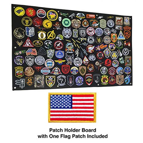 GOTAC Airsoft Morale Patch 2 Tactical Patch Display Holder Panel Board for Military Army Morale Hook and Loop Emblems, 43 Inches x 27.5 Inches, with 1 US Flag Patch Included