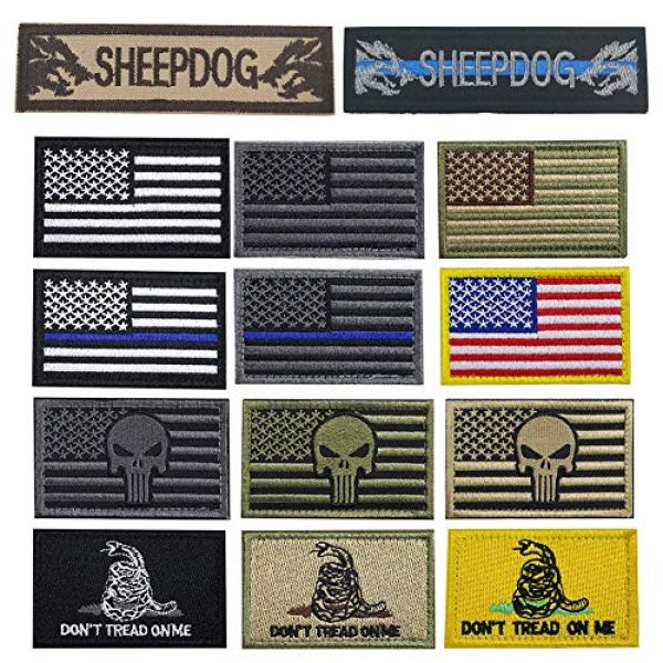 Bonng Airsoft Morale Patch 1 Bundle 14 Packs USA Flag Patches Thin Blue Line Tactical Military Morale Velcro Patch Set Morale Patches Set for Caps,Bags,Backpacks,Tactical Vest,Military Uniforms (color2)