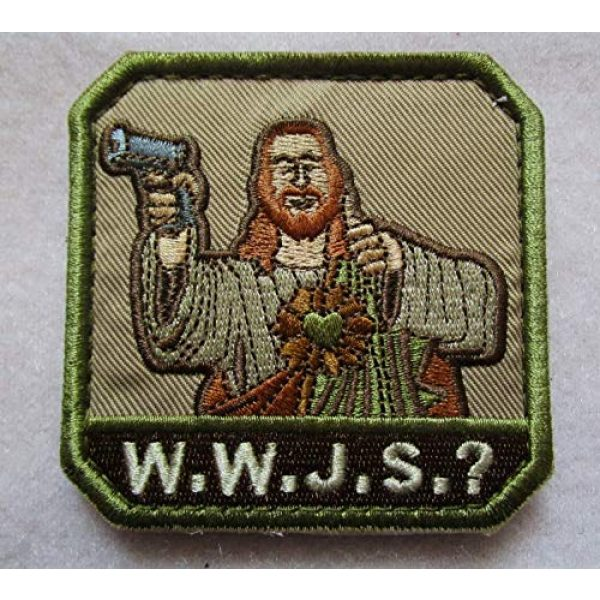 Embroidered Patch Airsoft Morale Patch 1 What Would Jesus Shoot 3D Tactical Patch Military Embroidered Morale Tags Badge Embroidered Patch DIY Applique Shoulder Patch Embroidery Gift Patch