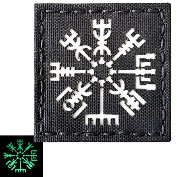 Tactical Freaky Airsoft Morale Patch 4 Glow Dark Vegvisir Viking Norse 2x2 GITD Tactical Morale Fastener Patch