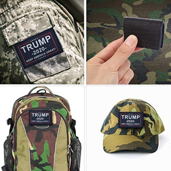 GentleGirl.USA Airsoft Morale Patch 5 GentleGirl.USA US American 2020 Donald Trump President Flags Patch with Velcro, USA Donald Trump Flags Personality Tactical PVC Hook Patch,Suitable for Military Clothes, Hats, Tactical Bags, Jackets