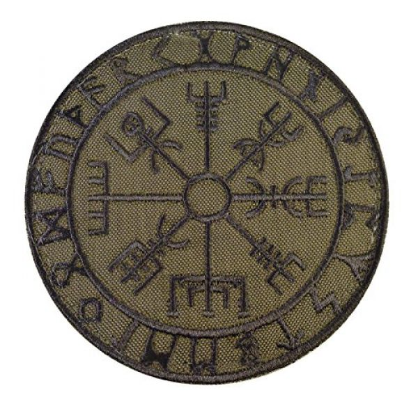 LEGEEON Airsoft Morale Patch 1 LEGEEON Olive Drab Vegvisir Viking Compass OD Green Norse Rune Morale Tactical Sew Iron on Patch