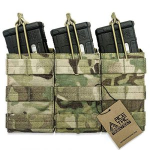 AceTac Gear Tactical Pouch 1 AceTac Tactical Triple Open Top Mag Pouch Mil-Spec Nylon Magazine Holder for with Adjustable Bungee Straps for Easy Carry and Use, Fit Pmag Lancer Ruger ProMag UTG D&H Mission First and More
