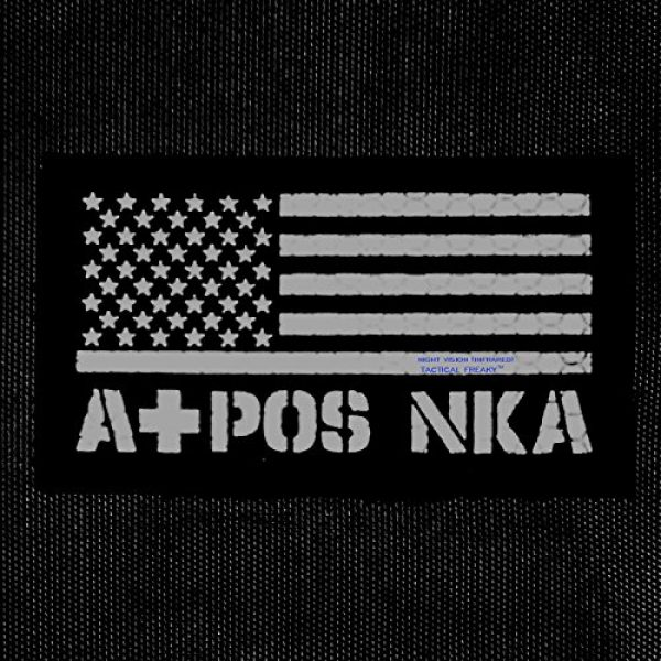 Tactical Freaky Airsoft Morale Patch 3 IR Multicam USA Flag APOS A+ Blood Type NKA NKDA Infrared Tactical Morale Fastener Patch