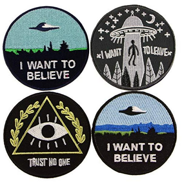 """JPT Airsoft Morale Patch 1 Ê""""Ìá´""""ÌÊ 4 Patches - I Want to Believe, Trust NO ONE, I Want to Leave Iron Sew on Patches"""
