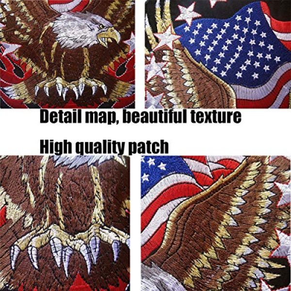 """TOOBIT Airsoft Morale Patch 4 Bald Eagle Patch Motorcycle Patch-7.7""""Patriotic USA Flag Eagle Jacket Embroidered Patch Iron On Patch Applique Clothes Jeans Sewing Flowers Applique"""