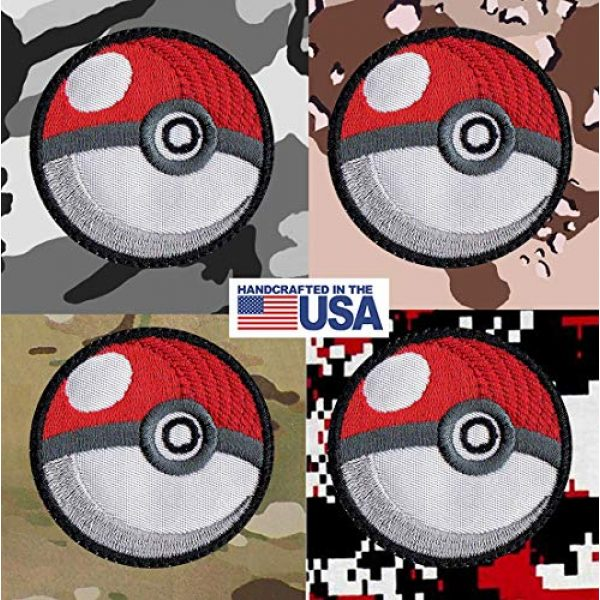 Tactical Patch Works Airsoft Morale Patch 4 Pokeman Poke Ball Ash Pikachu Inspired Art White Patch