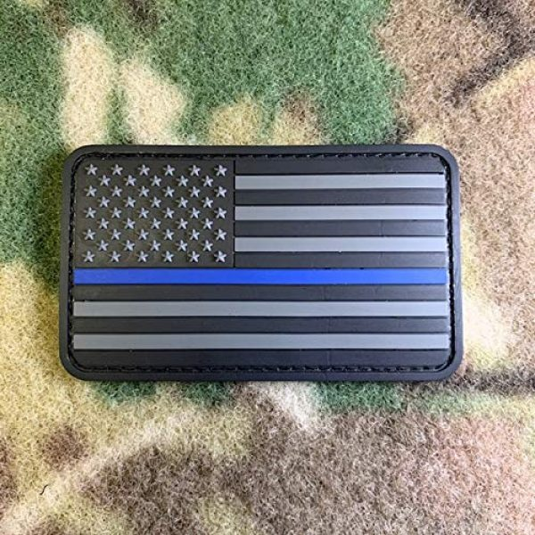 American Sheepdog Airsoft Morale Patch 1 Thin Blue Line American Flag 3D Morale Patch - Stealth