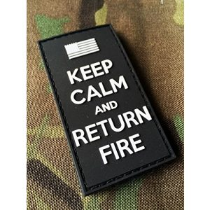 Empire Tactical USA Airsoft Morale Patch 1 3d PVC black Keep Calm and Return Fire (hook/loop) Morale Patch US Flag Army USA