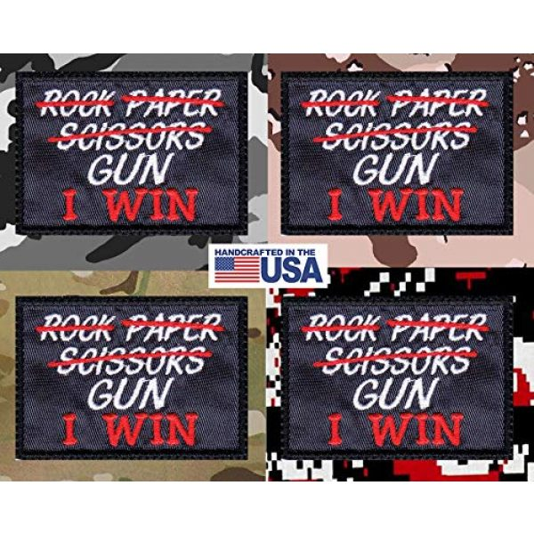 Tactical Patch Works Airsoft Morale Patch 4 Rock Paper Scissors Gun I Win Patch