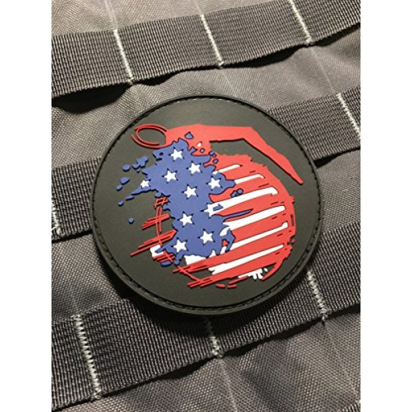 """Empire Tactical USA Airsoft Morale Patch 1 The Tactical American Frag 3"""" PVC (Hook/Loop) Grenade Military Veteran Patch"""