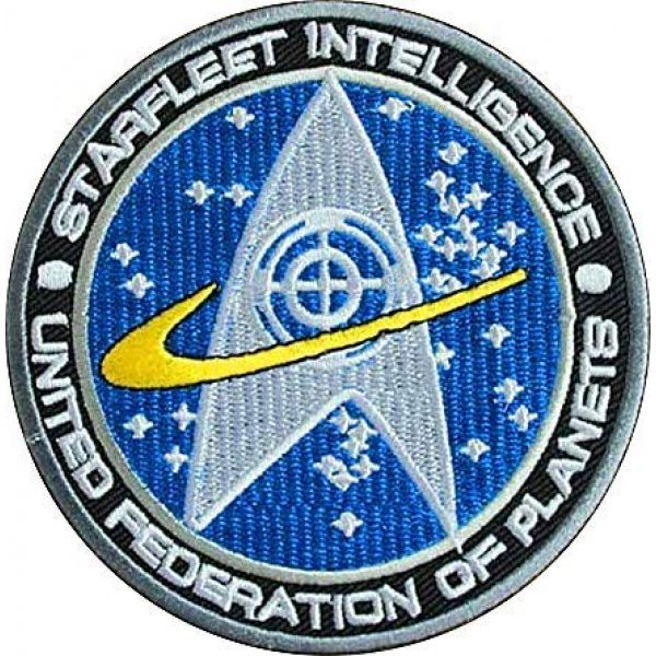 Embroidery Patch Airsoft Morale Patch 1 Star Trek TNG Starfleet Command United Federation of Planets Starfleet Intelligence Military Hook Loop Tactics Morale Embroidered Patch