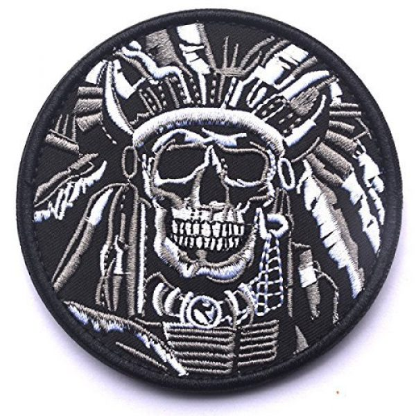 Antrix Airsoft Morale Patch 2 Antrix 2 Pack Tactical Indian Chief Horror Dead Skull Applique Fastener Hook and Loop Military Badge Emblem Patch for Backpacks Caps Hats Vests Bags
