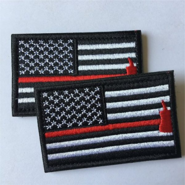 Hng Kiang Hu Airsoft Morale Patch 3 Bundle 2 Pieces American Flag Patch Thin Red Line US Firefighter Emergency Rescue