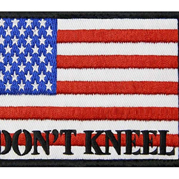 EmbTao Airsoft Morale Patch 2 I Don't Kneel for The Anthem USA Flag Morale Tactical Patch Embroidered Applique Fastener Hook & Loop Emblem
