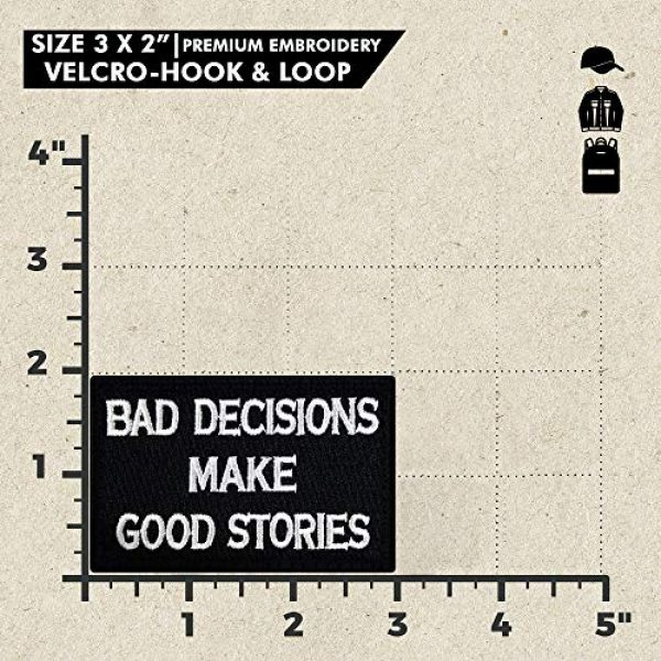 Ebateck Airsoft Morale Patch 3 Ebateck Bad Decisions Make Good Stories Patch, 2 Pack, Embroidered Morale Patches Tactical Funny for Hat Backpack Jackets (Applique Fastener Hook - Loop), Red & Black Color