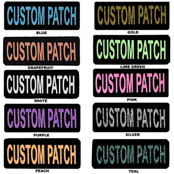 Dogline Airsoft Morale Patch 1 Dogline Custom Patch w/Glitter Letters for Dog Vest, Harness or Collar | Customizable Bling Text | Personalized Patches w/Hook Backing | Name, Agility, Service Dog, ESA