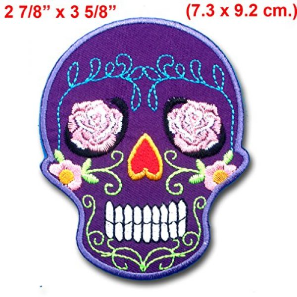 Verani Shop Airsoft Morale Patch 2 Verani Shop Purple Sunny Buick Rose Sugar Skull for Harley Lady Rider Biker Punk Heavy Metal Hard Rock Tatto Embroidered Iron on Badge Emblem Letter Morale Patch