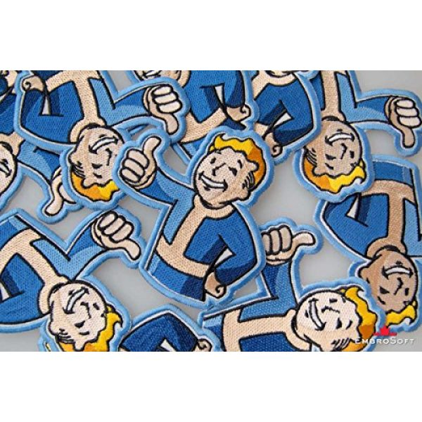 """Embrosoft Airsoft Morale Patch 5 Fallout Vault Boy Embroidered Patch Iron On (3.5"""" x 3.6"""")"""