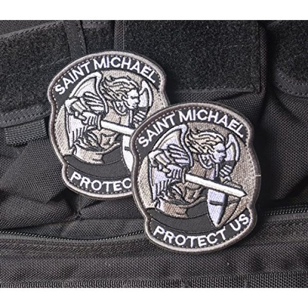 Zhikang68 Airsoft Morale Patch 2 Saint Michael Modern Morale Patch Tactical Military Army Embroidered Sew on Tags Operator Patches with Hook and Loop Fasteners Backing-Multitan