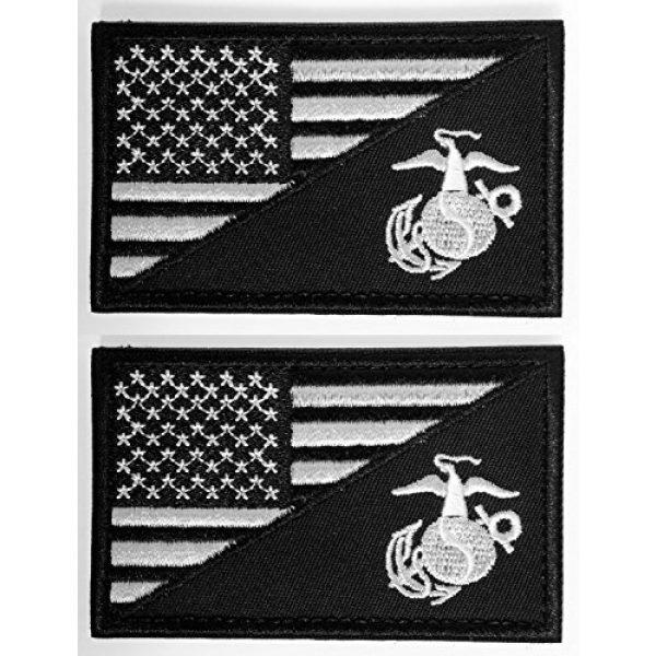 WZT Airsoft Morale Patch 1 WZT Bundle 2 Pieces American USA Flag Marine Corps USMC Black Ops White Morale Tactical Patch