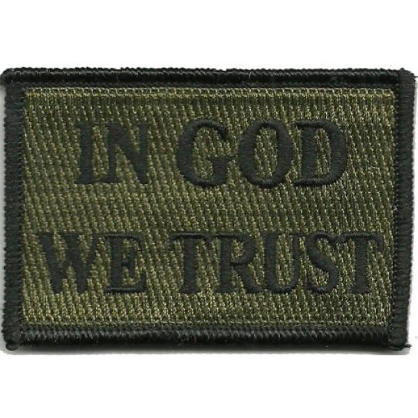 """Gadsden and Culpeper Airsoft Morale Patch 1 in GOD We Trust - 2""""x3"""" Tactical Patch - Olive Drab"""
