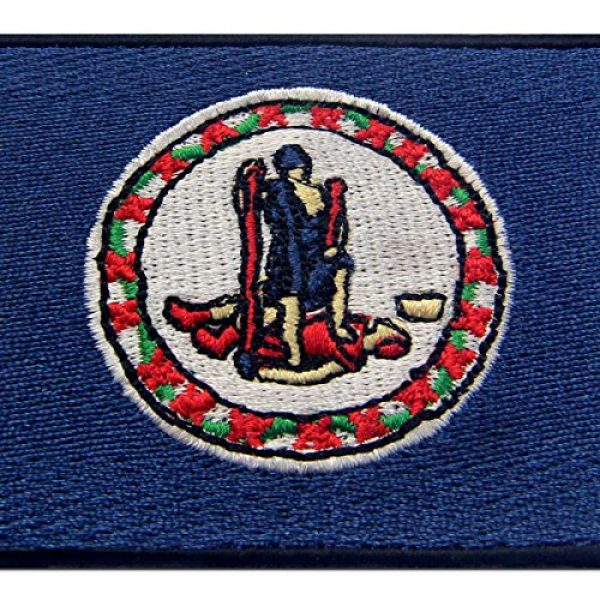 EmbTao Airsoft Morale Patch 2 Virginia State Flag Embroidered Emblem Iron On Sew On VA Patch