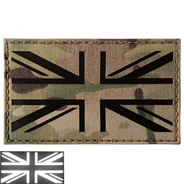 Tactical Freaky Airsoft Morale Patch 1 Big 3x5 Multicam Infrared IR UK Union Jack Flag IFF Tactical Morale Fastener Patch