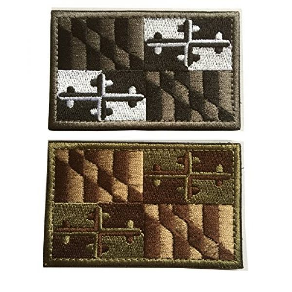 Hng Kiang Hu Airsoft Morale Patch 1 USA Maryland Flag Embroidered Tactical Morale Tags Patch (Bundle 2 Pieces)