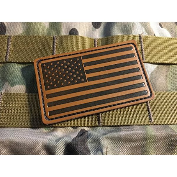 """Empire Tactical USA Airsoft Morale Patch 3 Forward 3"""" X 2"""" Genuine Leather American Flag (hook/loop) Morale patch"""