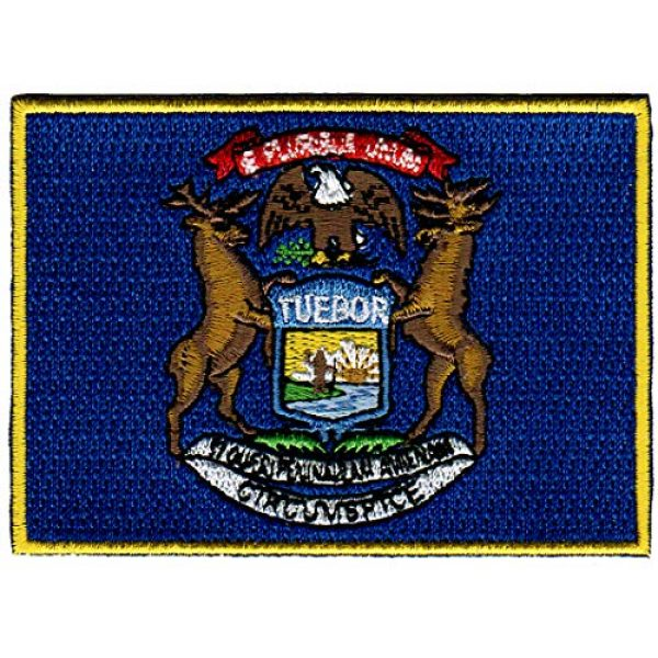 Cypress Collectibles Embroidered Patches Airsoft Morale Patch 1 Michigan State Flag Embroidered Patch Iron-On MI Emblem Blue