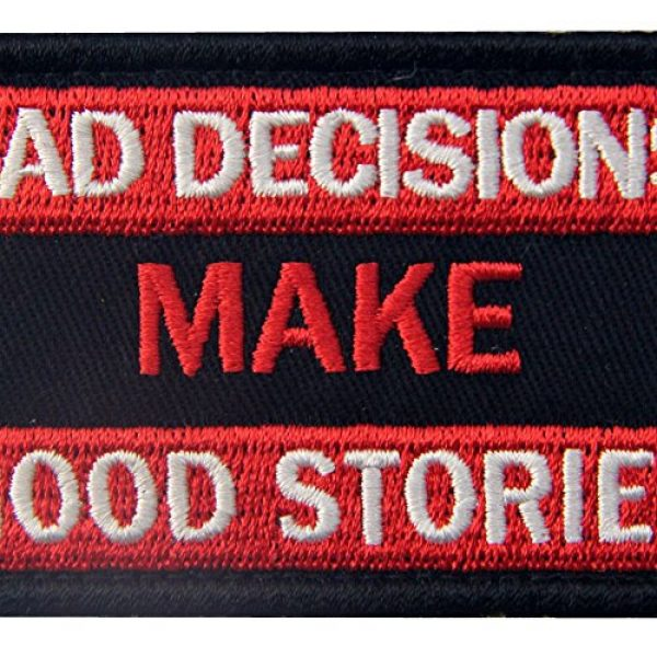 EmbTao Airsoft Morale Patch 2 Bad Decisions Make Good Stories Tactical Patch Embroidered Morale Applique Fastener Hook & Loop Emblem