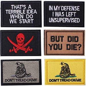 J.CARP Airsoft Morale Patch 1 6 Pieces Velcro Tactical Morale Embroidery Patches, Military Funny Full Embroidered Appliques for Tactical Gear