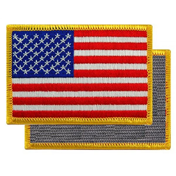 Cypress Collectibles Embroidered Patches Airsoft Morale Patch 2 American Flag Embroidered Tactical Patch Gold Border w/Velcro Brand Fastener