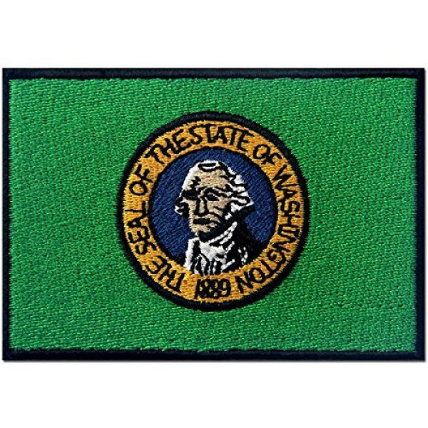 EmbTao Airsoft Morale Patch 1 Washington State Flag Embroidered Emblem Iron On Sew On WA Patch