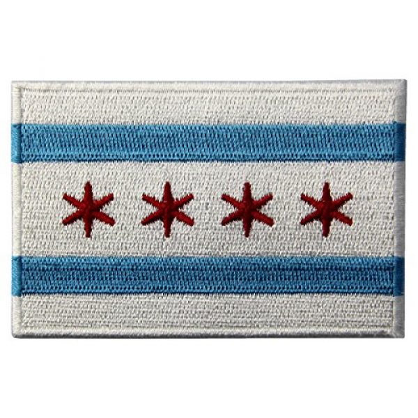 EmbTao Airsoft Morale Patch 1 Chicago City Flag Embroidered Iron On Sew On Illinois Patch