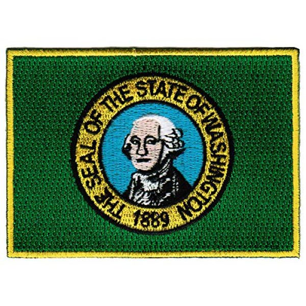 Cypress Collectibles Embroidered Patches Airsoft Morale Patch 1 Washington State Flag Embroidered Patch Iron-On WA Emblem Green