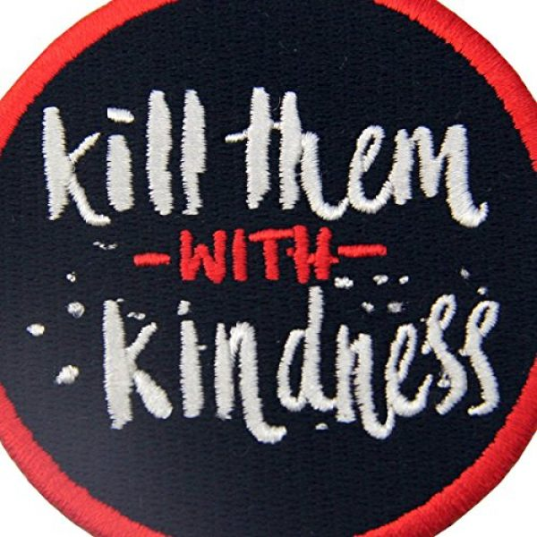 EmbTao Airsoft Morale Patch 2 Kill Them with Kindness Funny Patch Embroidered Morale Applique Iron On Sew On Emblem