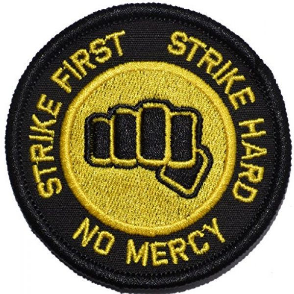 Tactical Gear Junkie Airsoft Morale Patch 1 Strike First Strike Hard No Mercy Cobra Kai Motto 3in Diameter Patch (Black w/Yellow)