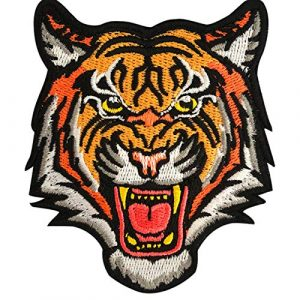 EZWOO Airsoft Morale Patch 1 Decoration Patch, The Roaring Bengal Striped Tiger Sew On Hook & Loop Embroidered Badge for Clothing Repair Backpack Jeans