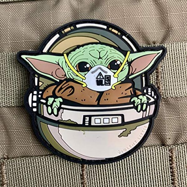 """Violent Little Machine Shop Airsoft Morale Patch 2 Violent Little Machine Shop""""Baby Yoda COVID Mask"""" PVC Morale Patch w/Velcro"""