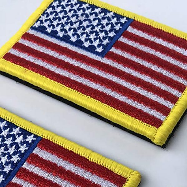 EtherealKiller Airsoft Morale Patch 5 American Flag Velcro Patches, 4pcs Gold Border US Flag Hook and Loop Emblems for Backpacks, Caps, Hats, Jackets, Pants