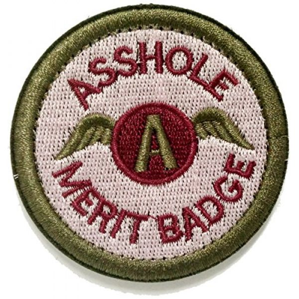 WZT Airsoft Morale Patch 1 WZT Asshole Merit Badge Morale - Tactical Patch (Green)