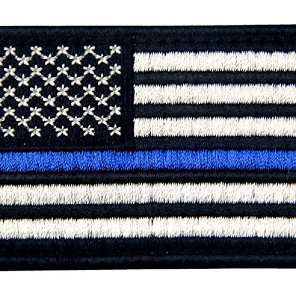 EmbTao Airsoft Morale Patch 2 Tactical Embroidered Thin Blue Line USA Flag Fastener Hook & Loop Patch