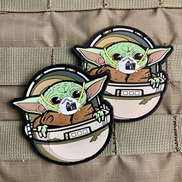 """Violent Little Machine Shop Airsoft Morale Patch 3 Violent Little Machine Shop""""Baby Yoda COVID Mask"""" PVC Morale Patch w/Velcro"""