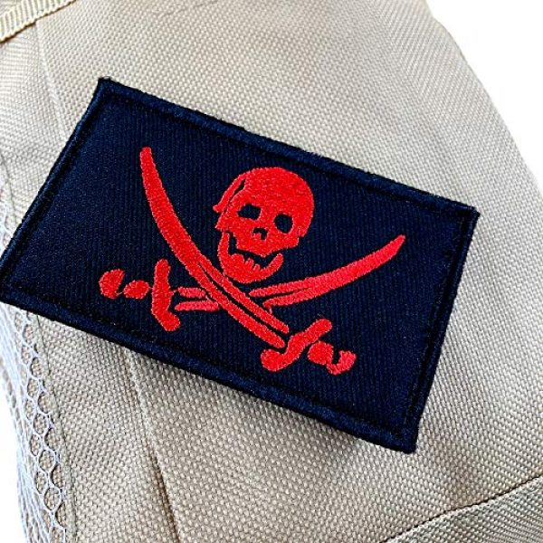 JumpyFire Airsoft Morale Patch 5 JumpyFire Skull Pirate Velcro Patch, 2 PCS Fully 3D Embroidered Military Morale Patches for Backpack Hat Jacket Jeans Uniform